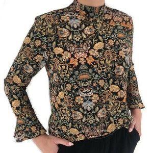 Zara High Neck Floral Print Bell Sleeve